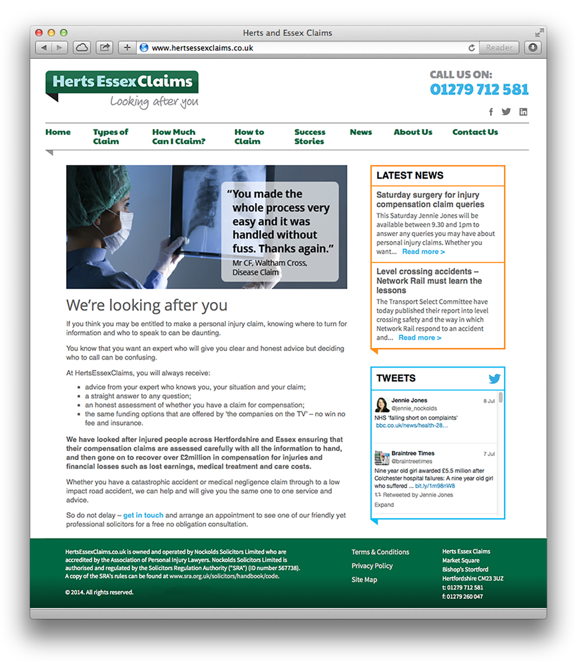 Herts Essex Claims Website - Homepage