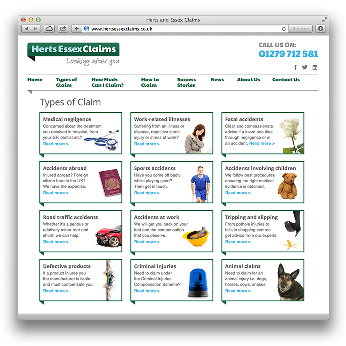 Herts Essex Claims Website - Types of Claim